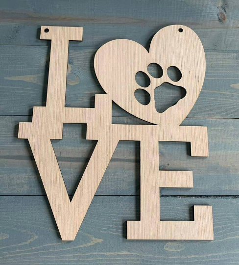 DIY/Paw Print/ Love Word Art/ Front Door Hanger/ Laser Cut/ Blank for Paint Parties