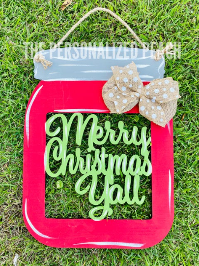 Merry Christmas Yall/ Mason Jar/Burlap Accent/  Front Door Hanger/