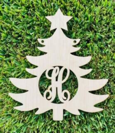 DIY/ Monogram Christmas Tree/ Blank Door Hanger / Personalized