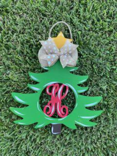 Monogram Christmas Tree/ Door Hanger / Laser Cut/ Personalized