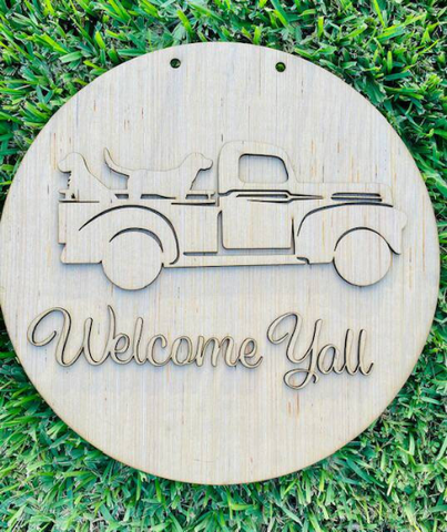 DIY/Welcome Yall Vintage Truck with Dogs/Laser Cut/ Blank Door Hanger