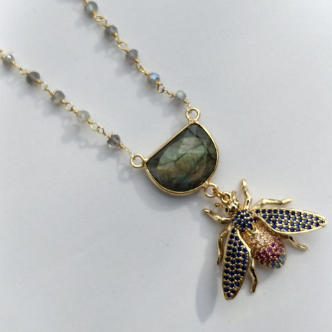 "CZ BEE NECKLACE WITH LABRADORITE FOCAL AND BEADED GOLD FILL CHAIN - 18""-NECKLACES-Jipsi Junk-JipsiJunk"
