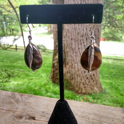 PETRIFIED WOOD JASPER TEARDROP FEATHER EARRINGS-earrings-Jipsi Junk-JipsiJunk