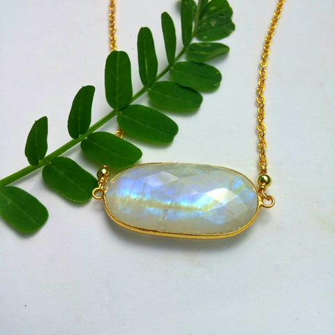 LARGE FACETED OVAL RAINBOW MOONSTONE AND GOLD NECKLACE-NECKLACES-Jipsi Junk-JipsiJunk