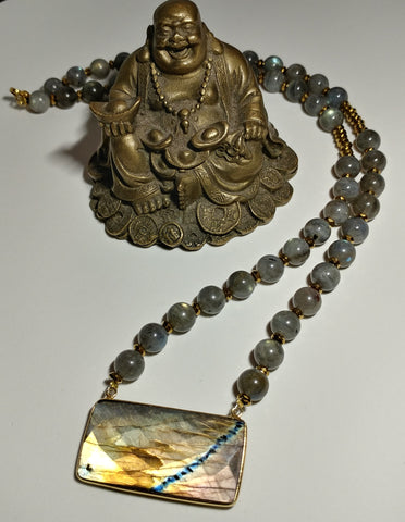 GRADE A LABRADORITE BEADED NECKLACE WITH GOLD PLATED HEMATITE AND GOLD PLATED BRASS BEZEL-JipsiJunk-JipsiJunk