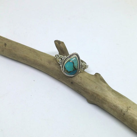 BLUE COPPER TURQUOISE TEARDROP RING IN STERLING SILVER WITH DOTTED AND SWIRLED DESIGN-RINGS-Jipsi Junk-JipsiJunk