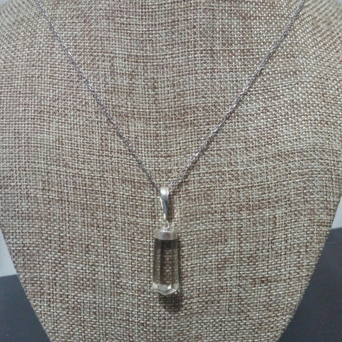 SMOKY QUARTZ CRYSTAL NECKLACE ON SURGICAL STEEL CHAIN-NECKLACES-Jipsi Junk-JipsiJunk