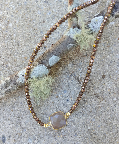 CHOCOLATE MOONSTONE NECKLACE WITH GOLD PLATED BEZEL AND CRYSTAL BEADED CHAIN-NECKLACES-JipsiJunk-JipsiJunk