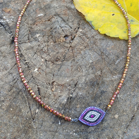 CUBIC ZIRCONIA EVIL EYE NECKLACE WITH BEADED CRYSTAL CHAIN-NECKLACES-Jipsi Junk-JipsiJunk