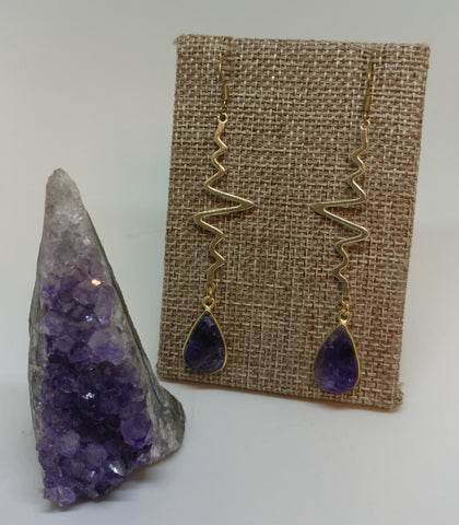 ROUGH AMETHYST HEARTBEAT EARRINGS-EARRINGS-Jipsi Junk-JipsiJunk