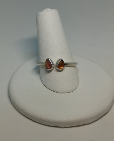 AMBER AND SUNSTONE ADJUSTABLE RING IN STERLING SILVER-RINGS-Jipsi Junk-JipsiJunk