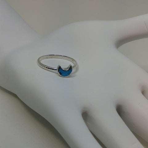CELESTIAL CRESCENT TURQUOISE TINY GEM RING WITH BRAIDED BAND IN STERLING SILVER-RINGS-Jipsi Junk-JipsiJunk