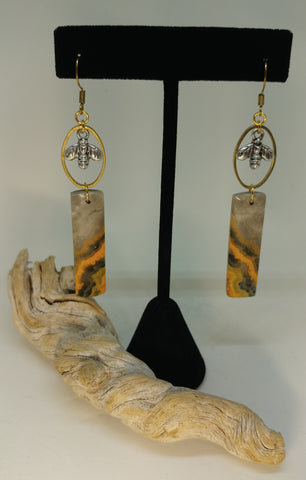 BUMBLEBEE JASPER BEEKEEPER EARRINGS-EARRINGS-Jipsi Junk-JipsiJunk