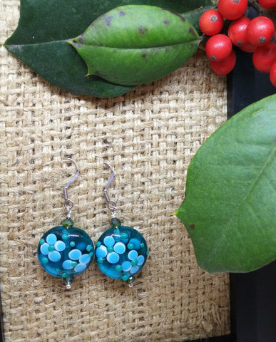 FLORAL BLUE MURANO GLASS COIN AND CRYSTAL EARRINGS-EARRINGS-JipsiJunk-JipsiJunk
