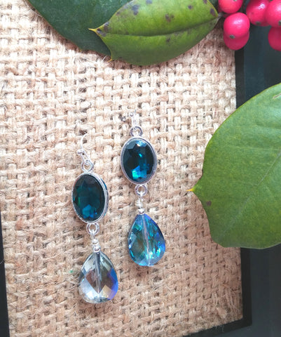 DRAMATIC EVENING CRYSTAL DROP EARRINGS-earrings-JipsiJunk-JipsiJunk