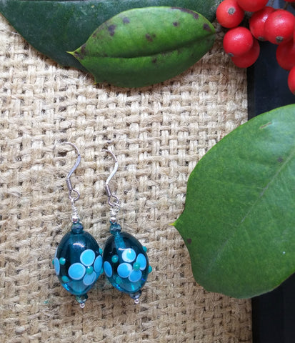 FLORAL BLUE OVAL MURANO GLASS AND CRYSTAL EARRINGS-EARRINGS-JipsiJunk-JipsiJunk