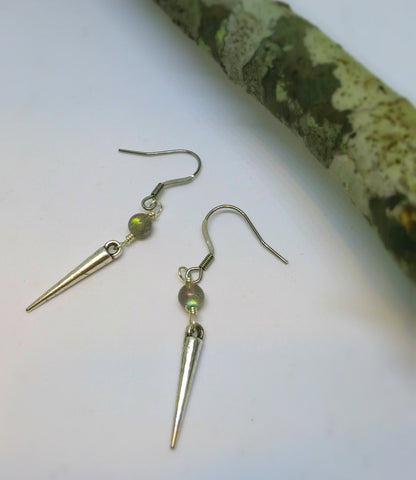 GRADE A CHATOYANT LABRADORITE GEMSTONE AND SPIKE DANGLE EARRINGS-EARRINGS-JipsiJunk-JipsiJunk