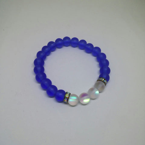 ROYAL BLUE SEAGLASS AND SYNTHETIC MOONSTONE GLASS STRETCH BRACELET-BRACELETS-Jipsi Junk-JipsiJunk