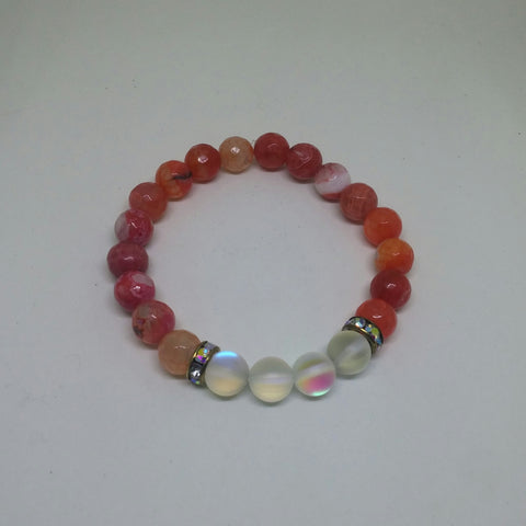 CORAL PINK AGATE AND SYNTHETIC MOONSTONE GLASS STRETCH BRACELET-BRACELETS-Jipsi Junk-JipsiJunk
