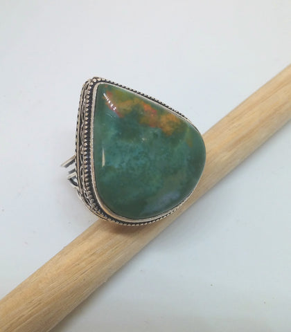 ANTIQUE CHRYSOCOLLA TEARDROP RING IN STERLING SILVER-RINGS-JipsiJunk-JipsiJunk