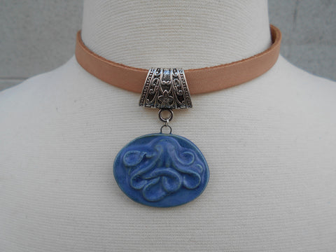 ADJUSTABLE LEATHER CHOKER WITH HANDMADE CERAMIC OCTOPUS PENDANT-NECKLACES-JipsiJunk-JipsiJunk