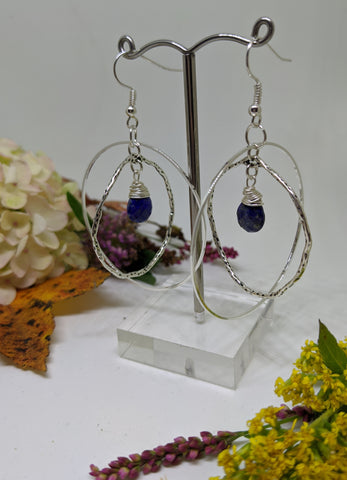 ORBITAL LAPIS LAZULI DROP HOOPS-EARRINGS-Jipsi Junk-JipsiJunk