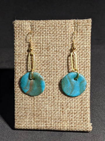 AQUA MARBLED DISC EARRINGS-EARRINGS-Jipsi Junk-JipsiJunk