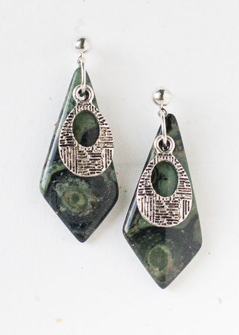 LONG DIAMOND KAMBABA JASPER AND ETCHED OVAL BALL POST EARRINGS-EARRINGS-Jipsi Junk-JipsiJunk