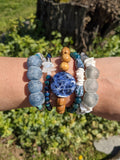 AFRICAN RECYCLED GLASS AND TURQUOISE STRETCH BRACELET-BRACELETS-Jipsi Junk-JipsiJunk