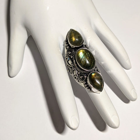 THREE STONE LABRADORITE RING IN STERLING SILVER-RINGS-Jipsi Junk-JipsiJunk