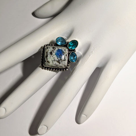 ETHNIC STYLE K2, AZURITE, AND BLUE TOPAZ RING IN STERLING SILVER-RINGS-Jipsi Junk-JipsiJunk