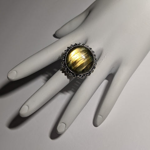 CAT'S EYE LABRADORITE RING WITH UNIQUE DOTTED AND WRAPPED BEZEL-RINGS-JipsiJunk-JipsiJunk