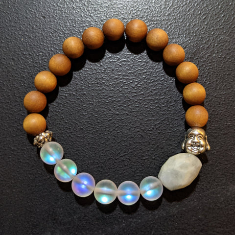 AB MOONSTONE, MERMAID GLASS AND AROMATIC SANDALWOOD BRACELET WITH BUDDHA HEAD BEAD-BRACELETS-Jipsi Junk-JipsiJunk