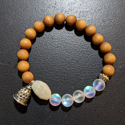 AB MOONSTONE, MERMAID GLASS AND AROMATIC SANDALWOOD STRETCH BRACELET WITH BOHO BELL CHARM-BRACELETS-Jipsi Junk-JipsiJunk