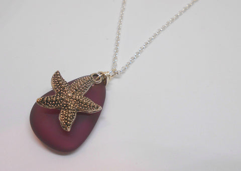 AMETHYST SEAGLASS AND STARFISH CHARM NECKLACE-NECKLACES-JipsiJunk-JipsiJunk
