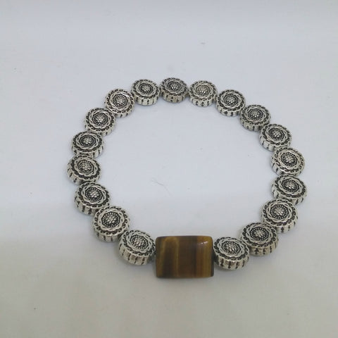 TIGEREYE AND NEPALI COIN STRETCH BRACELET-BRACELETS-JipsiJunk-JipsiJunk