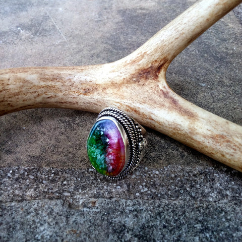 ANTIQUE STYLE RAINBOW SOLAR DRUZY RING IN STERLING SILVER-RINGS-Jipsi Junk-JipsiJunk