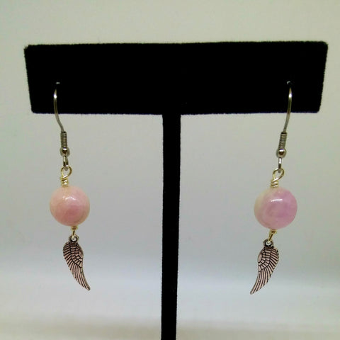 GUARDIAN ANGEL KUNZITE DANGLE EARRINGS-EARRINGS-JipsiJunk-JipsiJunk