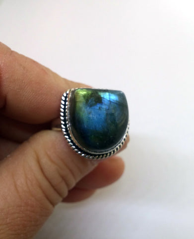 FREE FORM HORSESHOE LABRADORITE GEMSTONE RING IN STERLING SILVER-RINGS-JipsiJunk-JipsiJunk