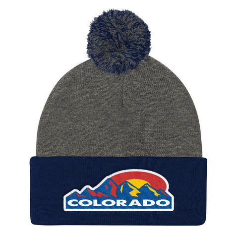 Colorado Mountain Sun Pom Pom Knit Cap