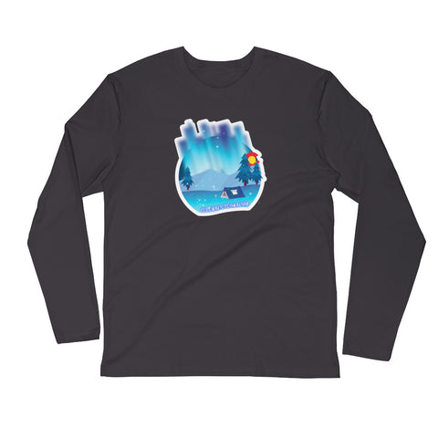 Camping Lights Long Sleeve Fitted Crew