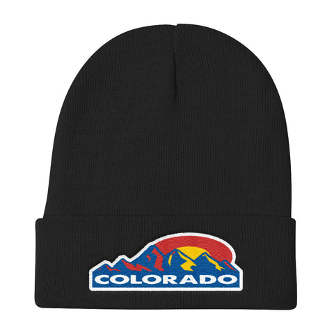 Colorado Mountain Sun Knit Beanie