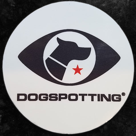 Dogspotting Round Logo Sticker, White