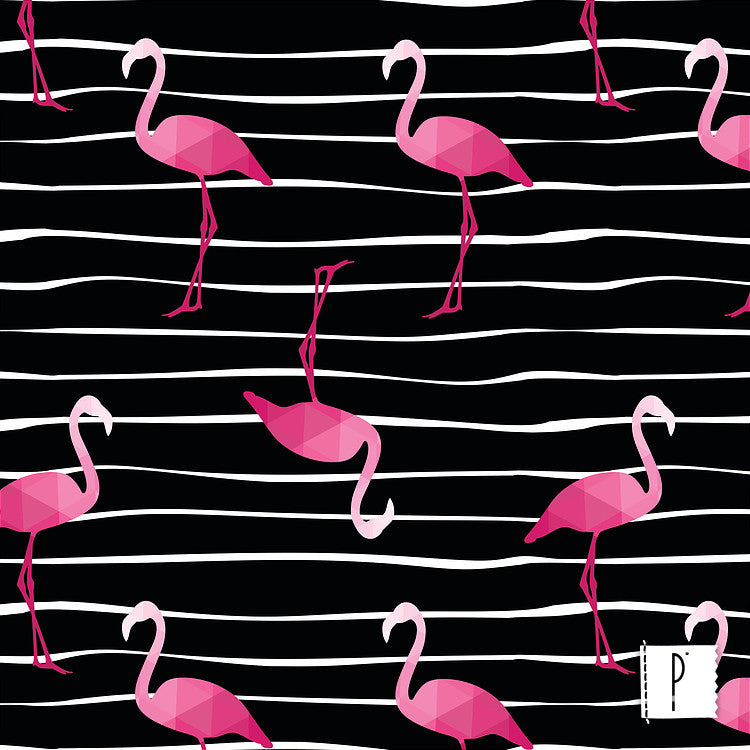 Estampa Flamingos Black
