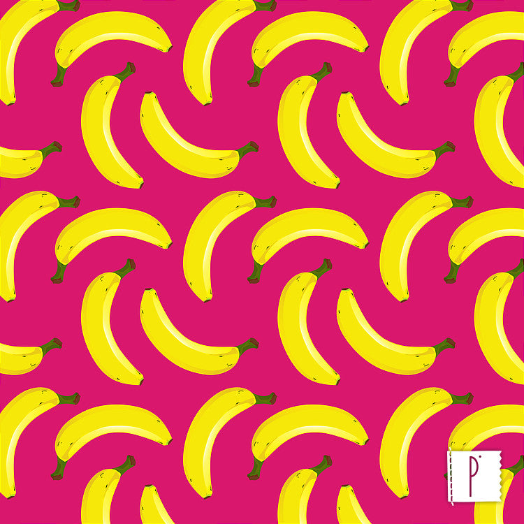 Estampa Banana - Fundo Rosa
