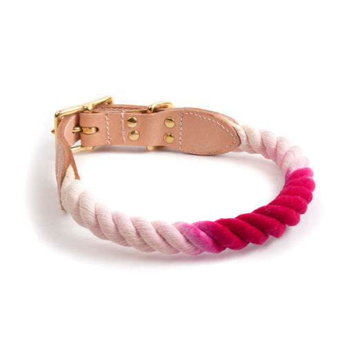 Found My Animal | Cat & Dog Cotton Rope & Leather Collar - Magenta Ombre