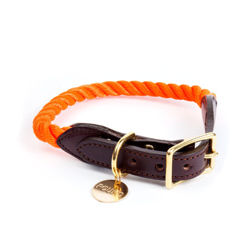 Found My Animal | Cat & Dog Rope & Leather Collar - Rescue Orange