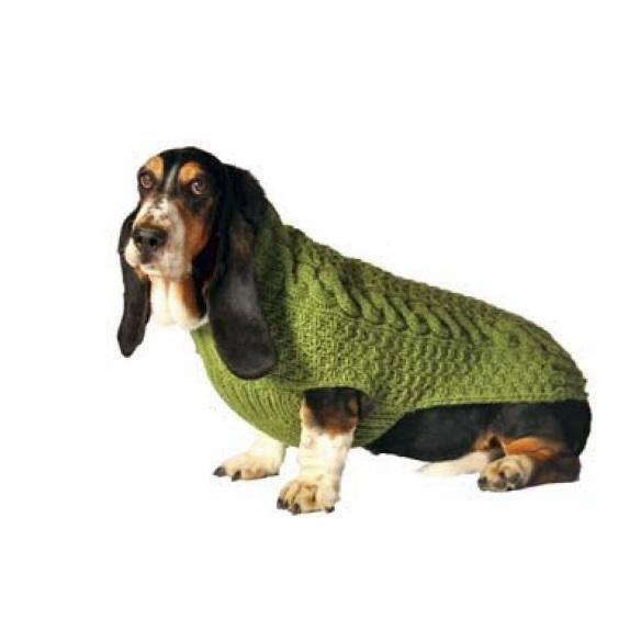 Chilly Dog - Sweater Green Cable Knit