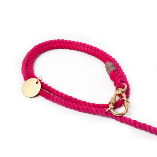 Found My Animal | Adjustable Cotton Rope Dog Leash - Magenta Ombre