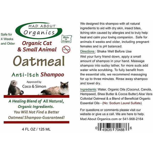 Mad About Organics | Organic Oatmeal Anti-Itch Shampoo for Cats and Small Animals